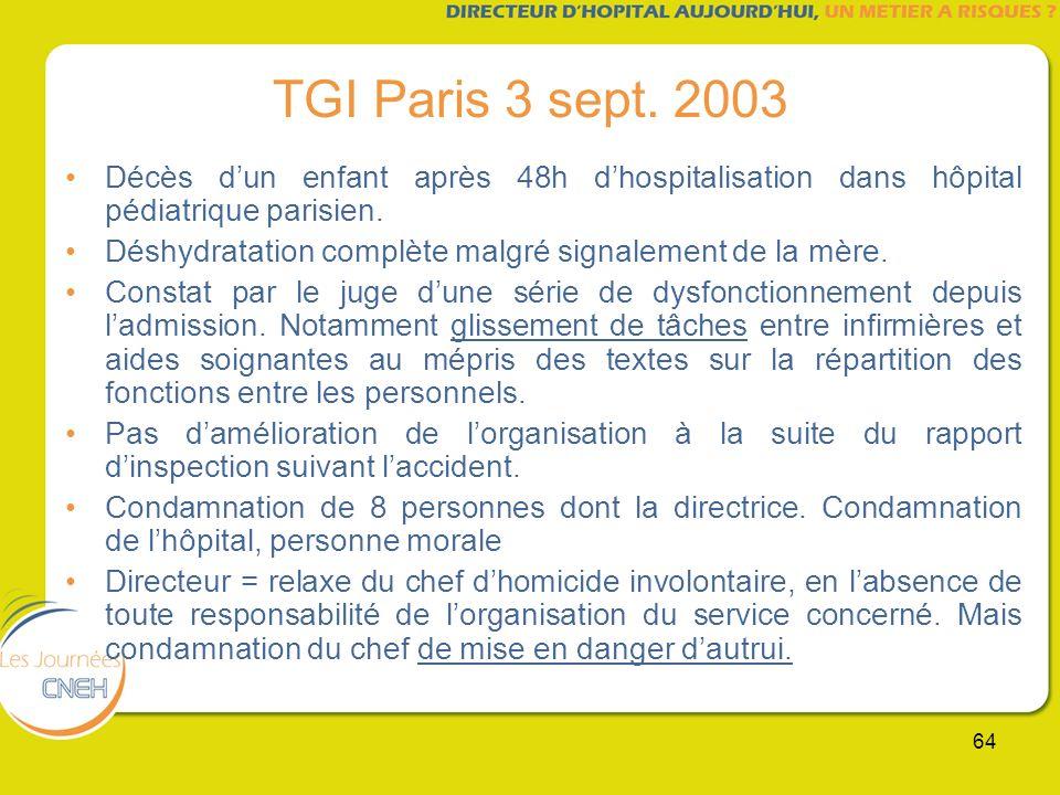 64 TGI Paris 3 sept. 2003 Décès dun enfant après 48h dhospitalisation dans hôpital pédiatrique parisien. Déshydratation complète malgré signalement de