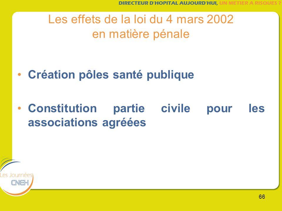 66 Les effets de la loi du 4 mars 2002 en matière pénale Création pôles santé publique Constitution partie civile pour les associations agréées
