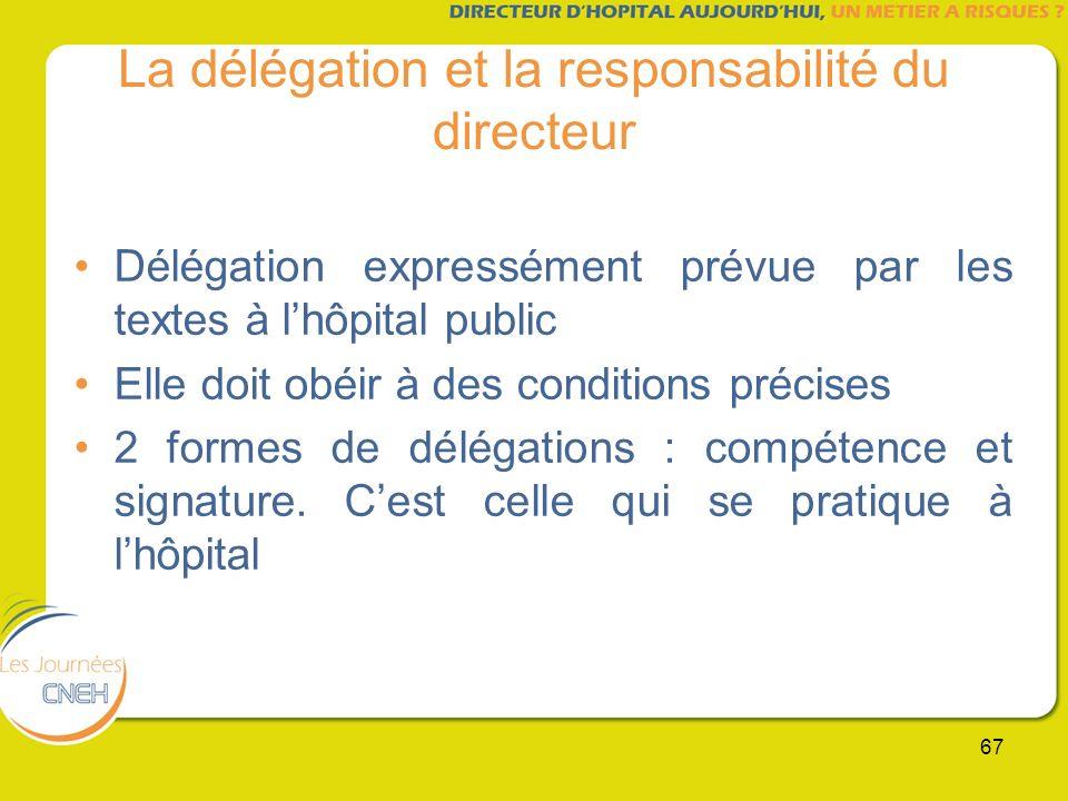 67 La délégation et la responsabilité du directeur Délégation expressément prévue par les textes à lhôpital public Elle doit obéir à des conditions pr