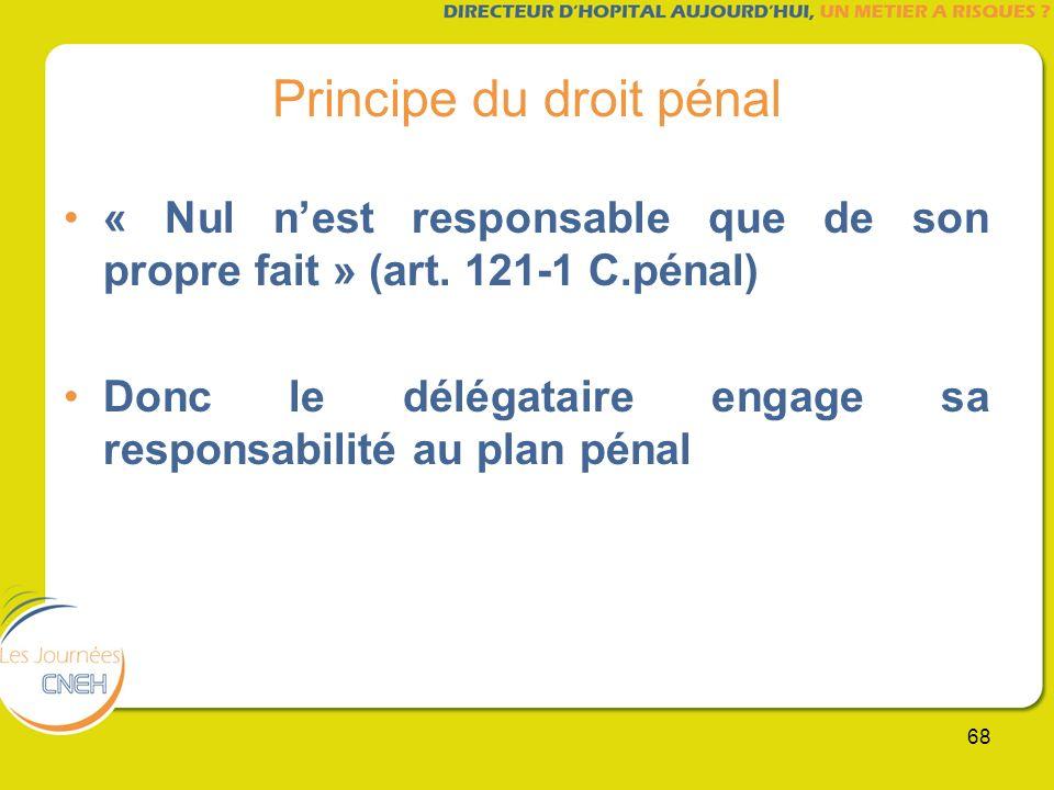 68 Principe du droit pénal « Nul nest responsable que de son propre fait » (art. 121-1 C.pénal) Donc le délégataire engage sa responsabilité au plan p