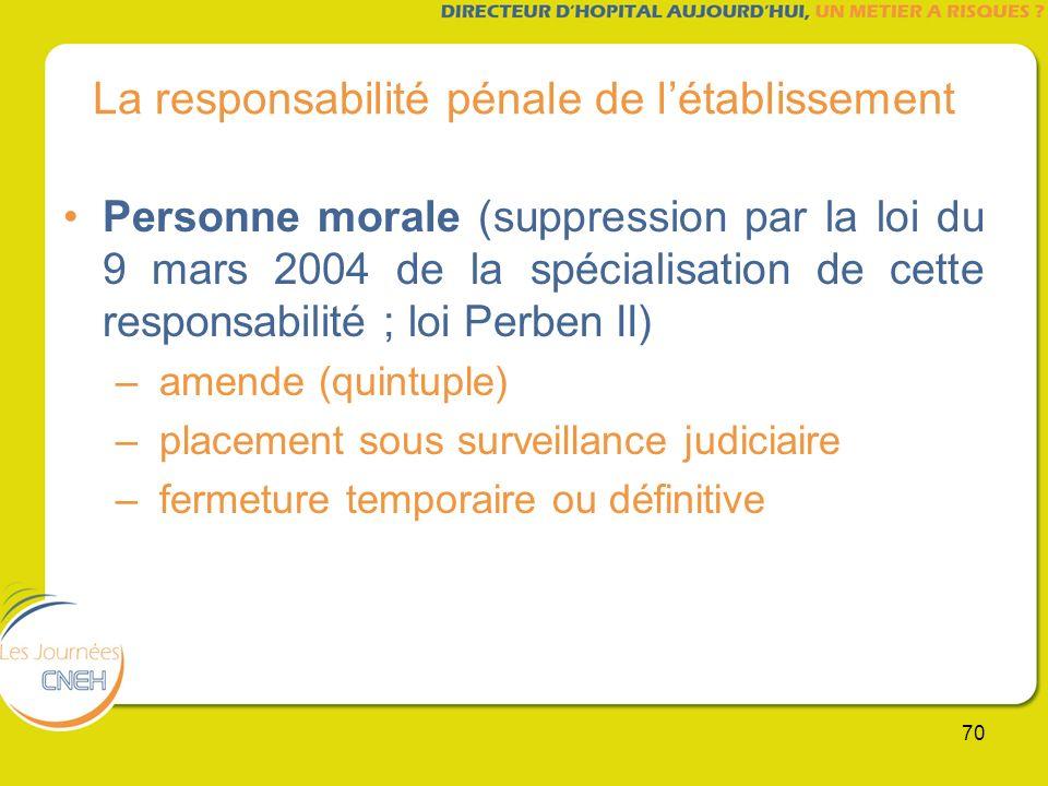 70 La responsabilité pénale de létablissement Personne morale (suppression par la loi du 9 mars 2004 de la spécialisation de cette responsabilité ; lo