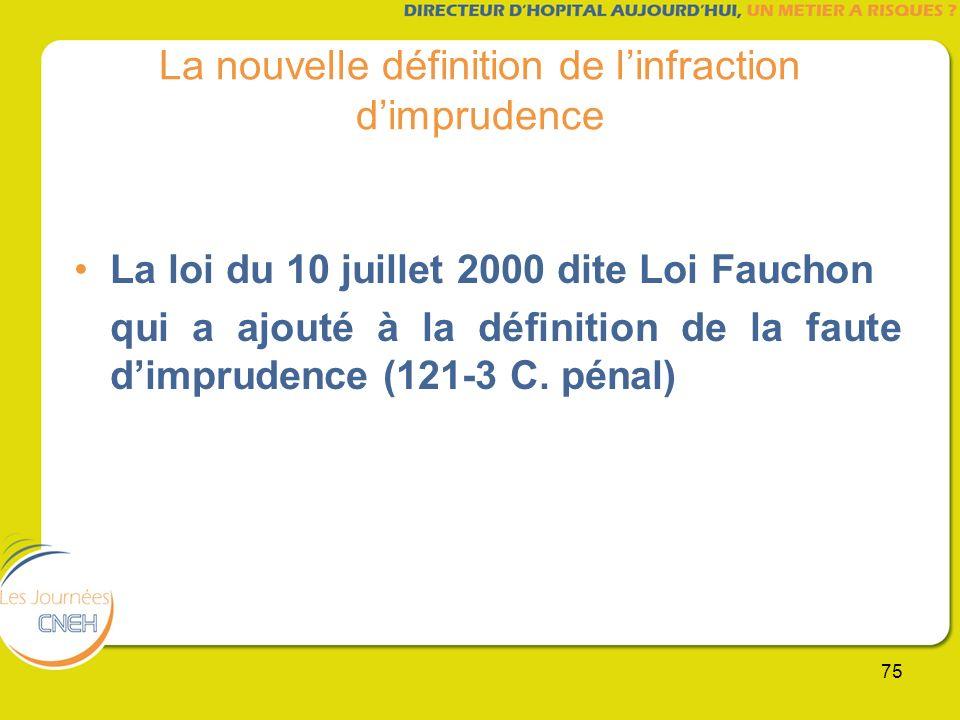 75 La nouvelle définition de linfraction dimprudence La loi du 10 juillet 2000 dite Loi Fauchon qui a ajouté à la définition de la faute dimprudence (