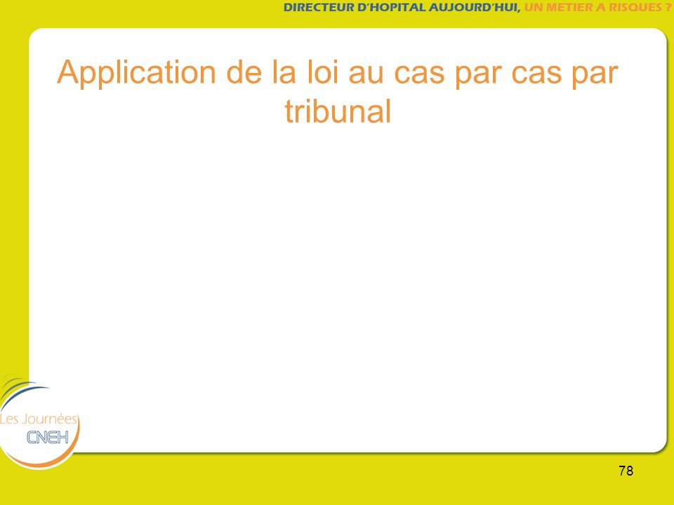 78 Application de la loi au cas par cas par tribunal