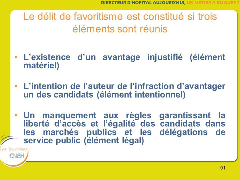 91 Le délit de favoritisme est constitué si trois éléments sont réunis Lexistence dun avantage injustifié (élément matériel) Lintention de lauteur de