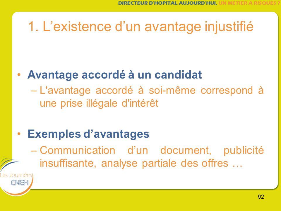 92 1. Lexistence dun avantage injustifié Avantage accordé à un candidat –L'avantage accordé à soi-même correspond à une prise illégale d'intérêt Exemp