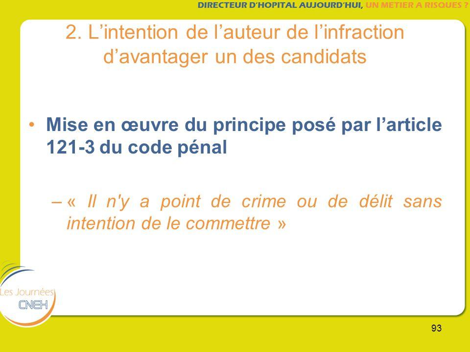 93 2. Lintention de lauteur de linfraction davantager un des candidats Mise en œuvre du principe posé par larticle 121-3 du code pénal –« Il n'y a poi