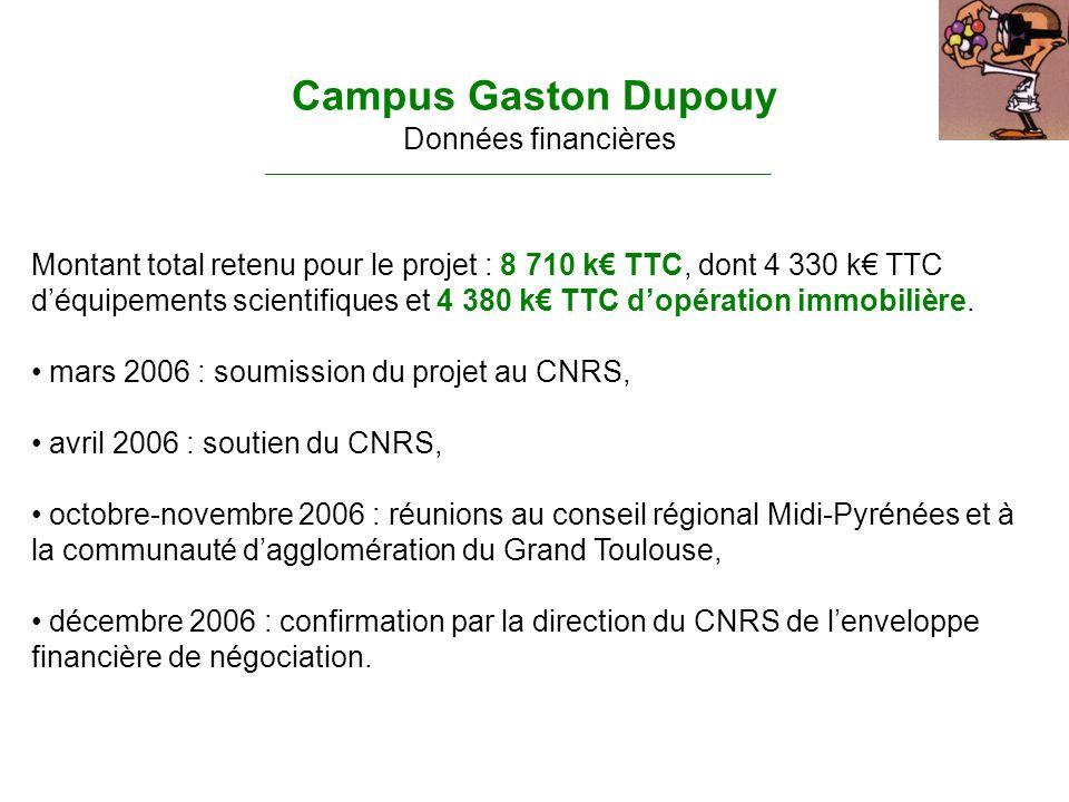 Montant total retenu pour le projet : 8 710 k TTC, dont 4 330 k TTC déquipements scientifiques et 4 380 k TTC dopération immobilière. mars 2006 : soum