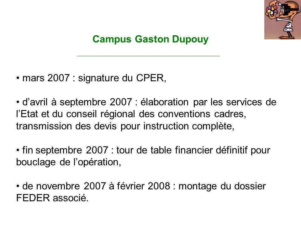 Campus Gaston Dupouy mars 2007 : signature du CPER, davril à septembre 2007 : élaboration par les services de lEtat et du conseil régional des convent