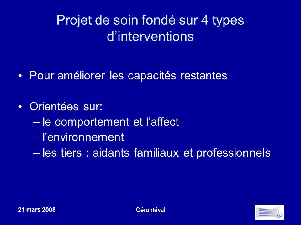 21 mars 2008Gérontéval Projet de soin fondé sur 4 types dinterventions Pour améliorer les capacités restantes Orientées sur: –le comportement et laffe
