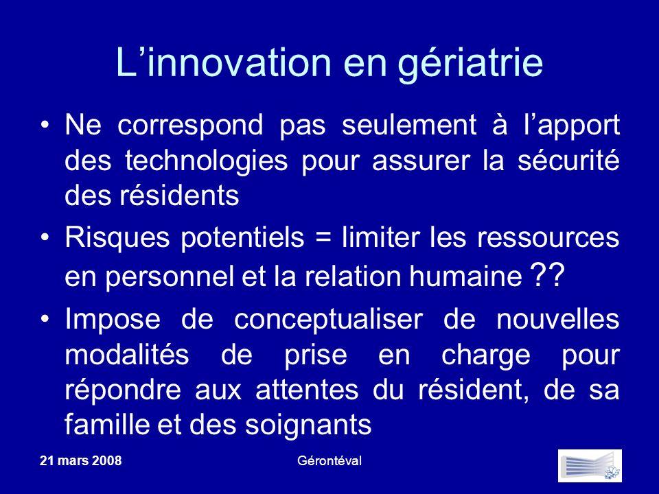 Linnovation en gériatrie Ne correspond pas seulement à lapport des technologies pour assurer la sécurité des résidents Risques potentiels = limiter le