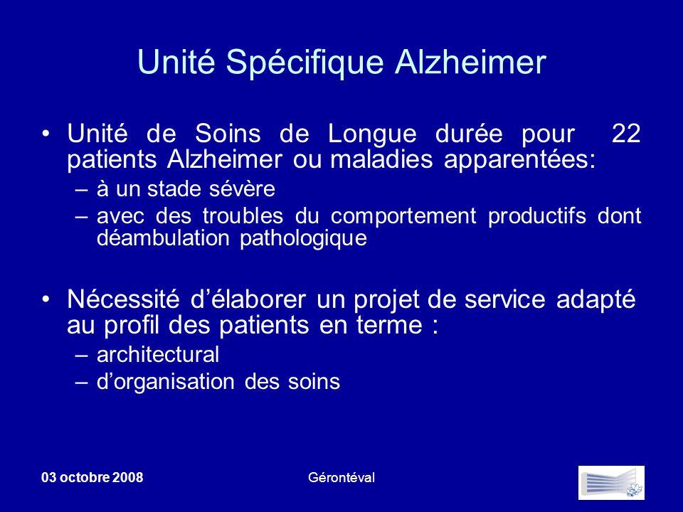03 octobre 2008Gérontéval Unité Spécifique Alzheimer Unité de Soins de Longue durée pour 22 patients Alzheimer ou maladies apparentées: –à un stade sé