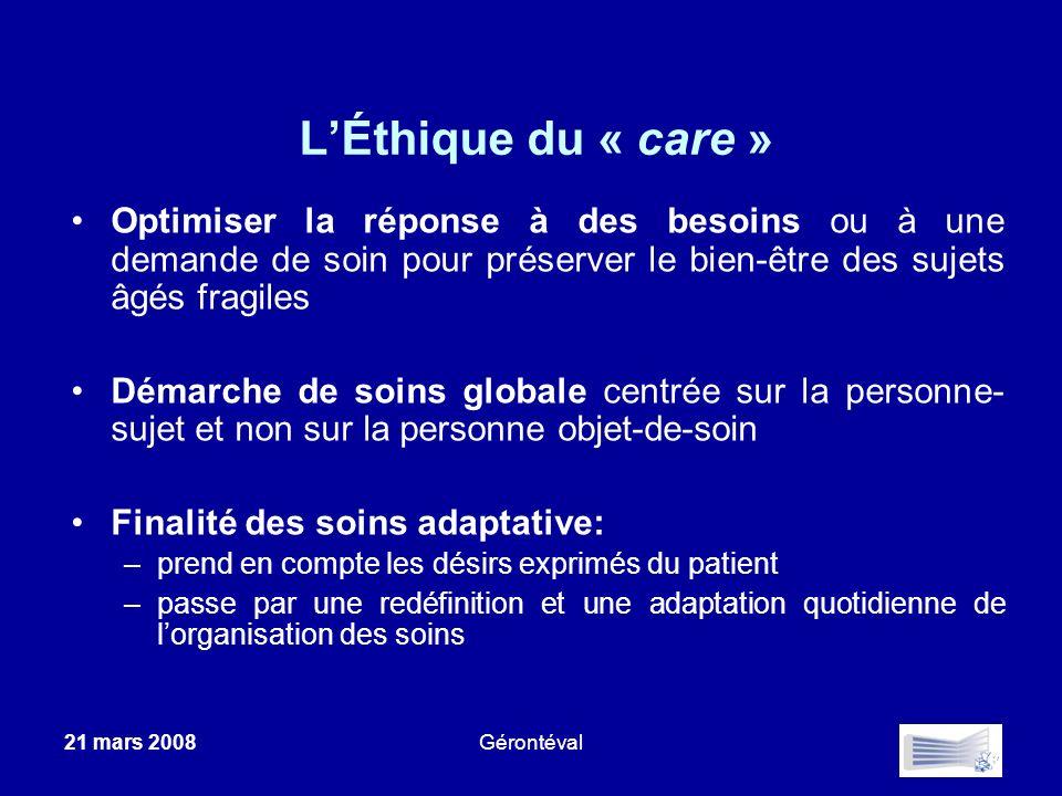 21 mars 2008Gérontéval LÉthique du « care » Optimiser la réponse à des besoins ou à une demande de soin pour préserver le bien-être des sujets âgés fr