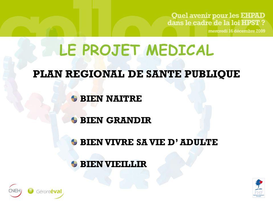 LE PROJET MEDICAL PLAN REGIONAL DE SANTE PUBLIQUE BIEN NAITRE BIEN GRANDIR BIEN VIVRE SA VIE D ADULTE BIEN VIEILLIR