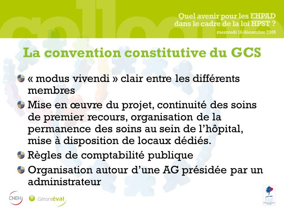 La convention constitutive du GCS « modus vivendi » clair entre les différents membres Mise en œuvre du projet, continuité des soins de premier recour