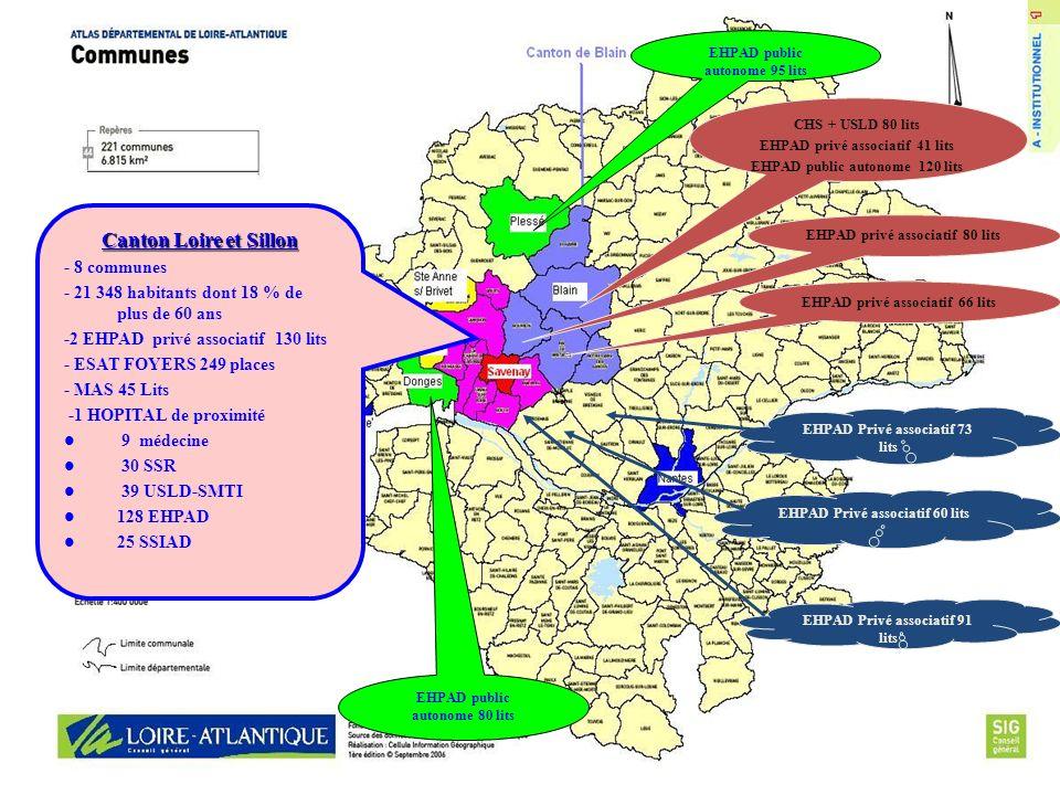 Canton Loire et Sillon - 8 communes - 21 348 habitants dont 18 % de plus de 60 ans -2 EHPAD privé associatif 130 lits - ESAT FOYERS 249 places - MAS 4