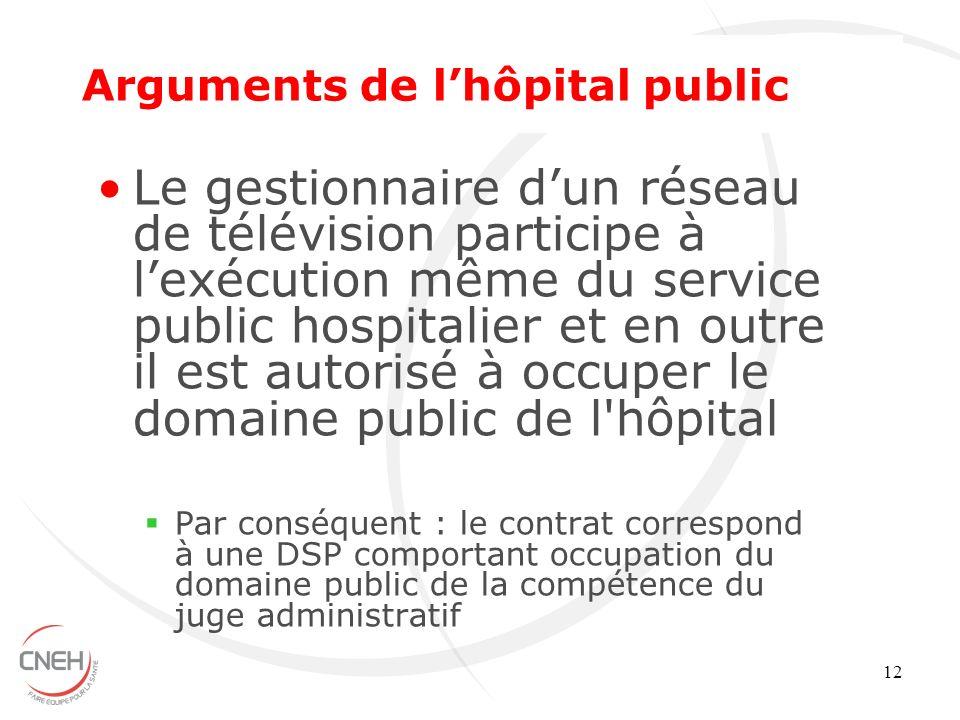 12 Le gestionnaire dun réseau de télévision participe à lexécution même du service public hospitalier et en outre il est autorisé à occuper le domaine