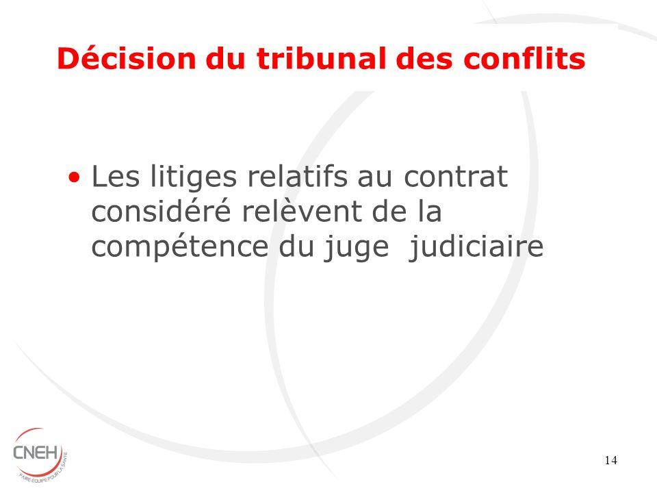 14 Les litiges relatifs au contrat considéré relèvent de la compétence du juge judiciaire Décision du tribunal des conflits