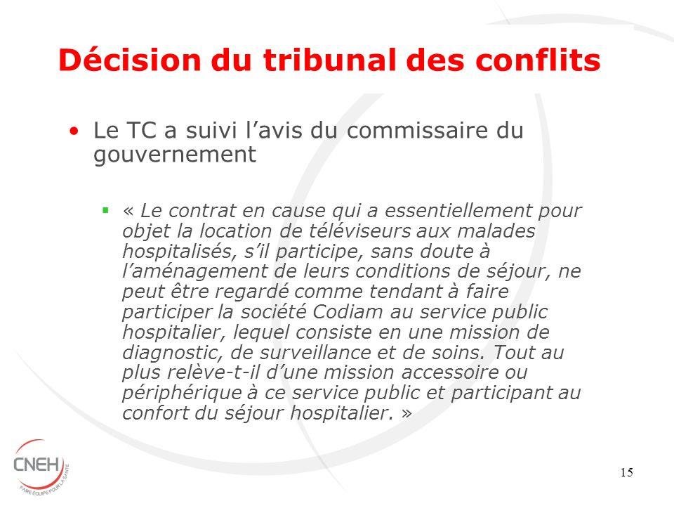 15 Le TC a suivi lavis du commissaire du gouvernement « Le contrat en cause qui a essentiellement pour objet la location de téléviseurs aux malades ho
