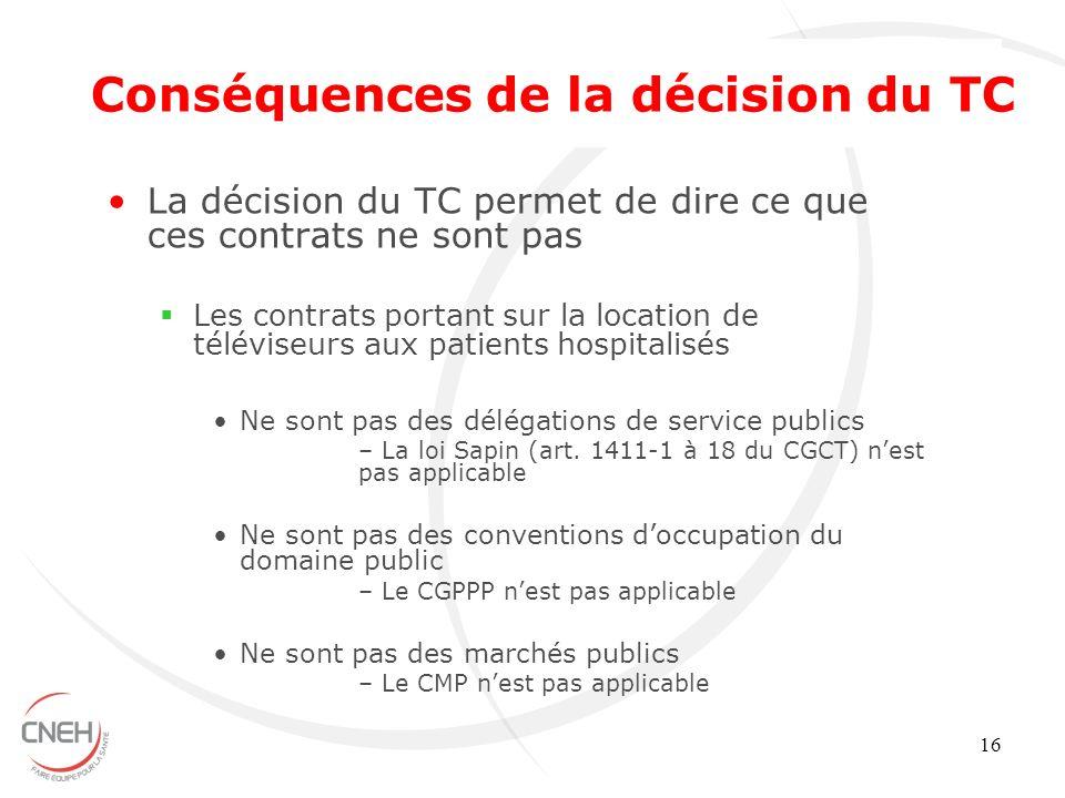 16 La décision du TC permet de dire ce que ces contrats ne sont pas Les contrats portant sur la location de téléviseurs aux patients hospitalisés Ne s