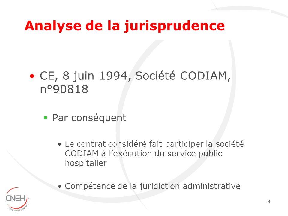 4 CE, 8 juin 1994, Société CODIAM, n°90818 Par conséquent Le contrat considéré fait participer la société CODIAM à lexécution du service public hospit