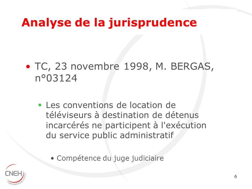 6 TC, 23 novembre 1998, M. BERGAS, n°03124 Les conventions de location de téléviseurs à destination de détenus incarcérés ne participent à l'exécution