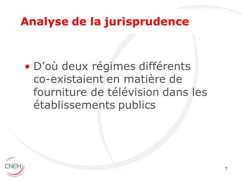 7 Doù deux régimes différents co-existaient en matière de fourniture de télévision dans les établissements publics Analyse de la jurisprudence