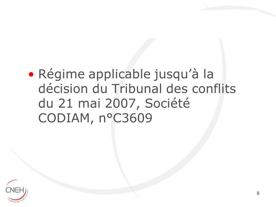 8 Régime applicable jusquà la décision du Tribunal des conflits du 21 mai 2007, Société CODIAM, n°C3609