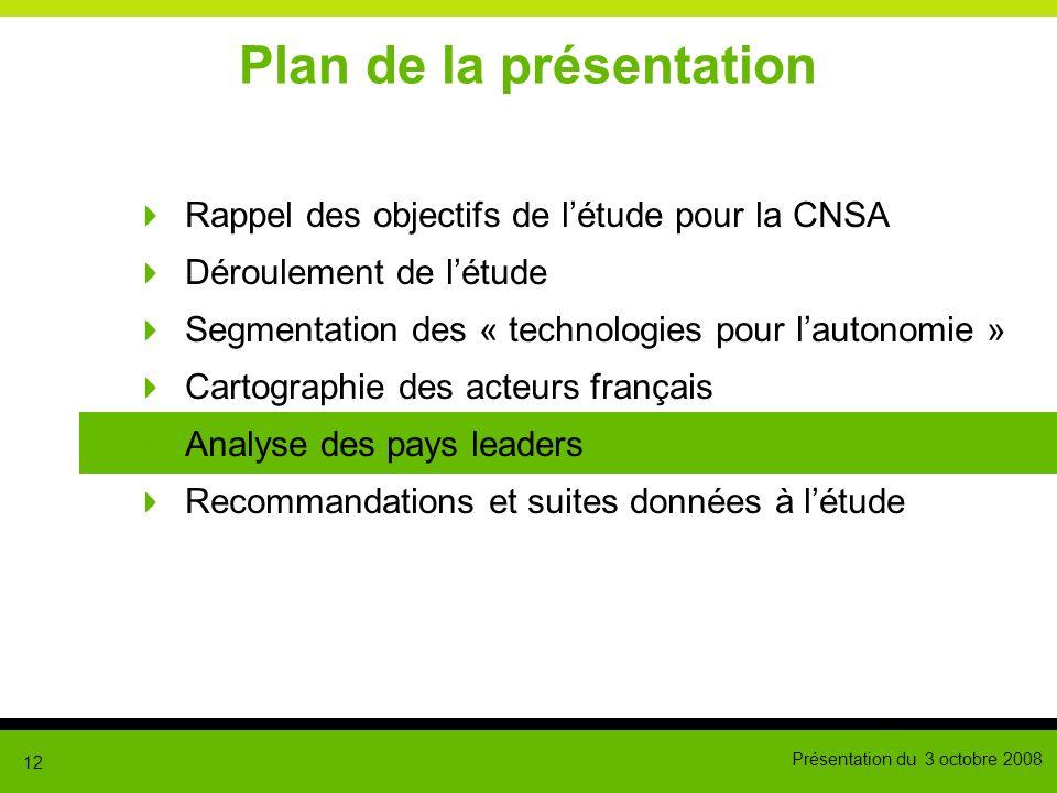 Présentation du 3 octobre 2008 12 Plan de la présentation Rappel des objectifs de létude pour la CNSA Déroulement de létude Segmentation des « technol
