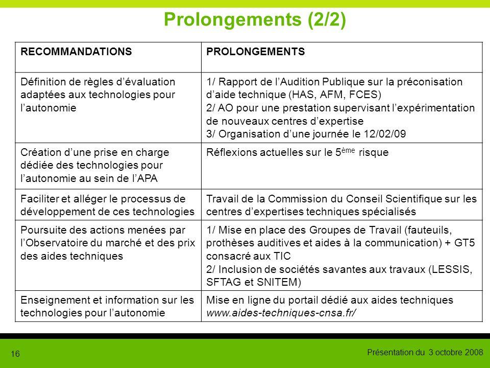 Présentation du 3 octobre 2008 16 Prolongements (2/2) RECOMMANDATIONSPROLONGEMENTS Définition de règles dévaluation adaptées aux technologies pour lau