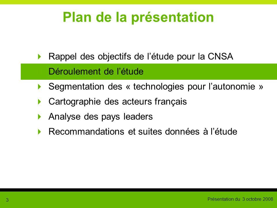 Présentation du 3 octobre 2008 3 Plan de la présentation Rappel des objectifs de létude pour la CNSA Déroulement de létude Segmentation des « technolo
