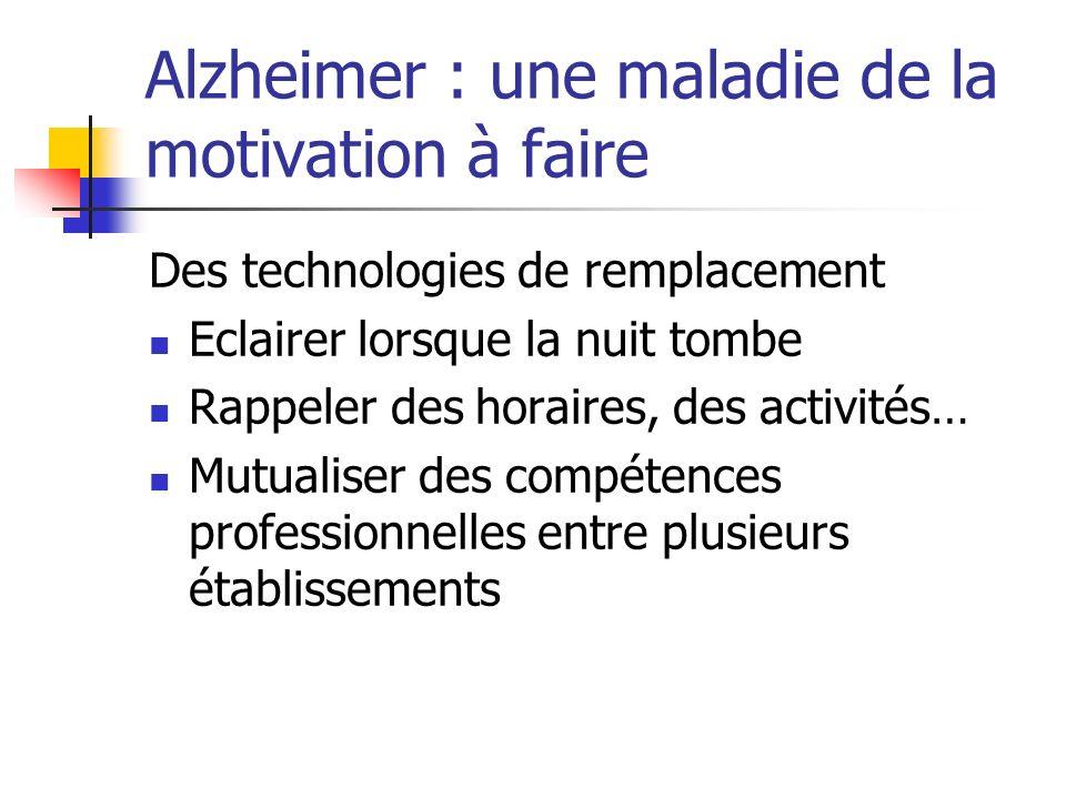 Alzheimer : une maladie de la motivation à faire Des technologies de remplacement Eclairer lorsque la nuit tombe Rappeler des horaires, des activités…