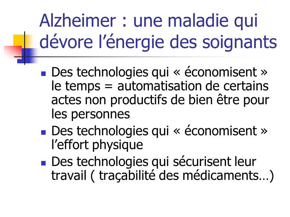 Alzheimer : une maladie qui dévore lénergie des soignants Des technologies qui « économisent » le temps = automatisation de certains actes non product