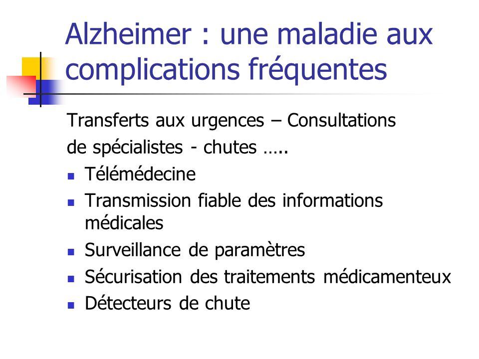 Alzheimer : une maladie aux complications fréquentes Transferts aux urgences – Consultations de spécialistes - chutes ….. Télémédecine Transmission fi