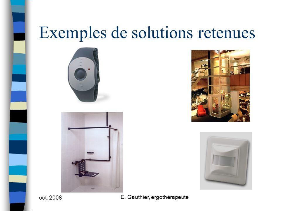 oct. 2008 E. Gauthier, ergothérapeute Exemples de solutions retenues