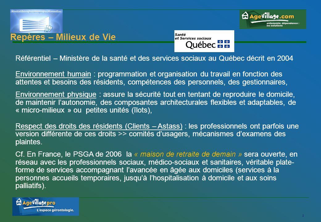 3 Accréditation Milieu de Vie au Québec Le ministère de la santé et des services sociaux au Québec décrit en 2004 les conditions incontournables à la mise en place dun milieu de vie de qualité - un conseil dadministration et une direction qui se sont approprié le concept « milieu de vie ».