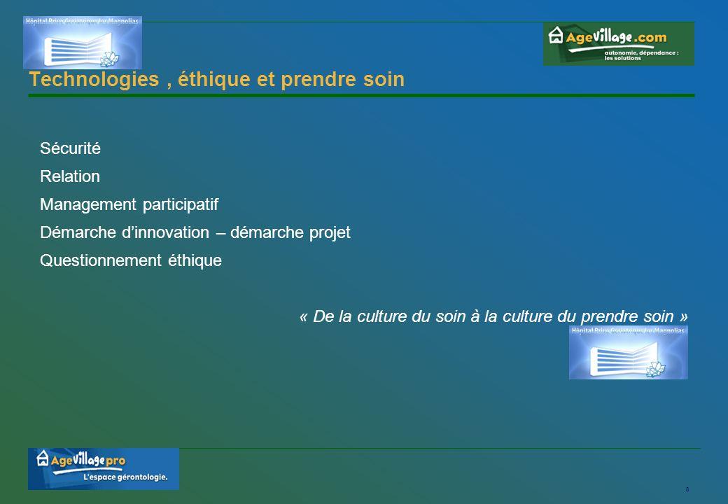 8 Technologies, éthique et prendre soin Sécurité Relation Management participatif Démarche dinnovation – démarche projet Questionnement éthique « De la culture du soin à la culture du prendre soin »