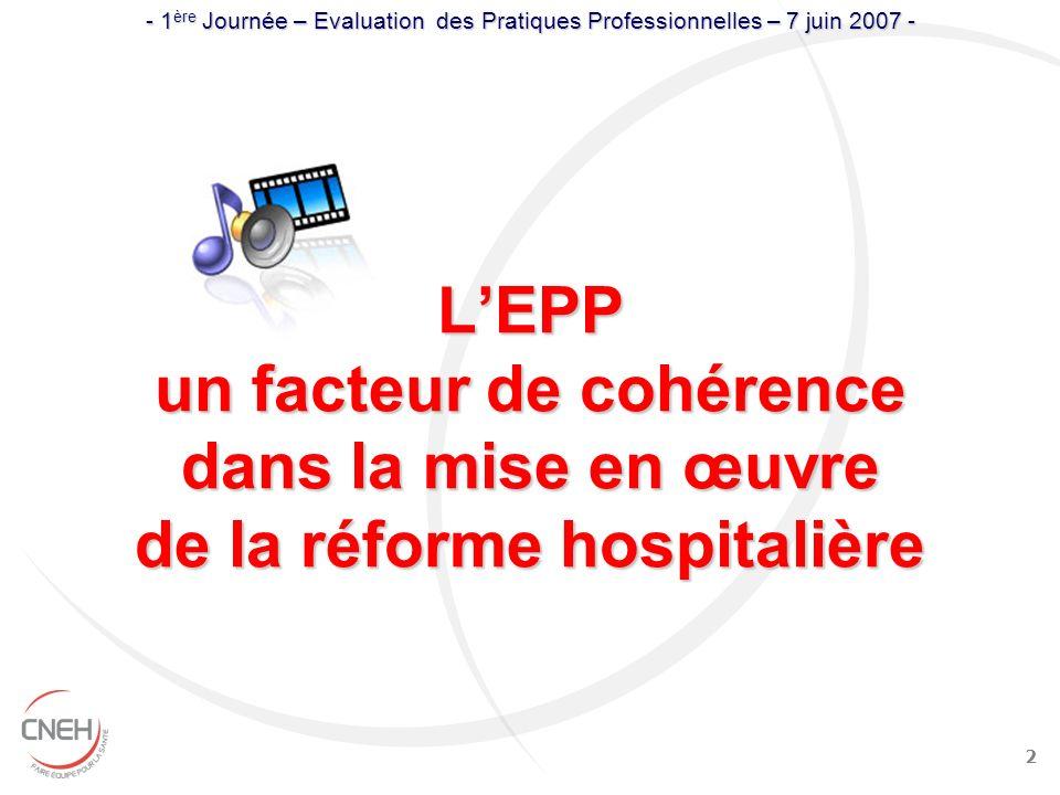 2 LEPP un facteur de cohérence dans la mise en œuvre de la réforme hospitalière - 1 ère Journée – Evaluation des Pratiques Professionnelles – 7 juin 2