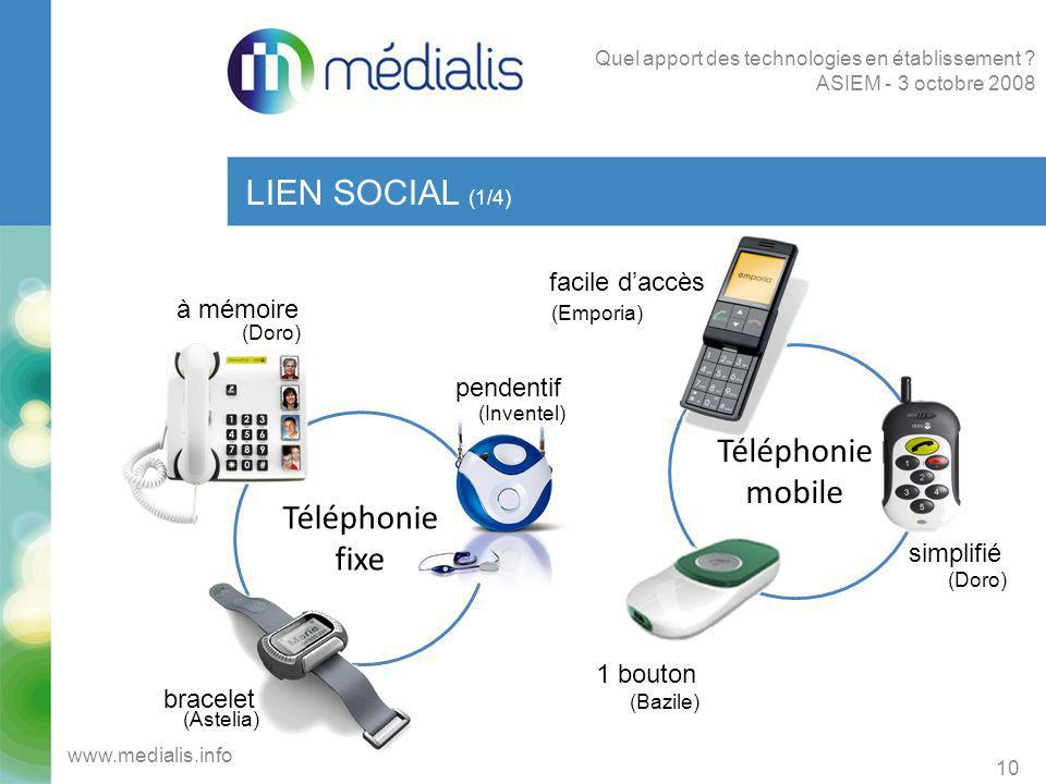 Téléphonie fixe Téléphonie mobile LIEN SOCIAL (1/4) 10 www.medialis.info Quel apport des technologies en établissement ? ASIEM - 3 octobre 2008 à mémo