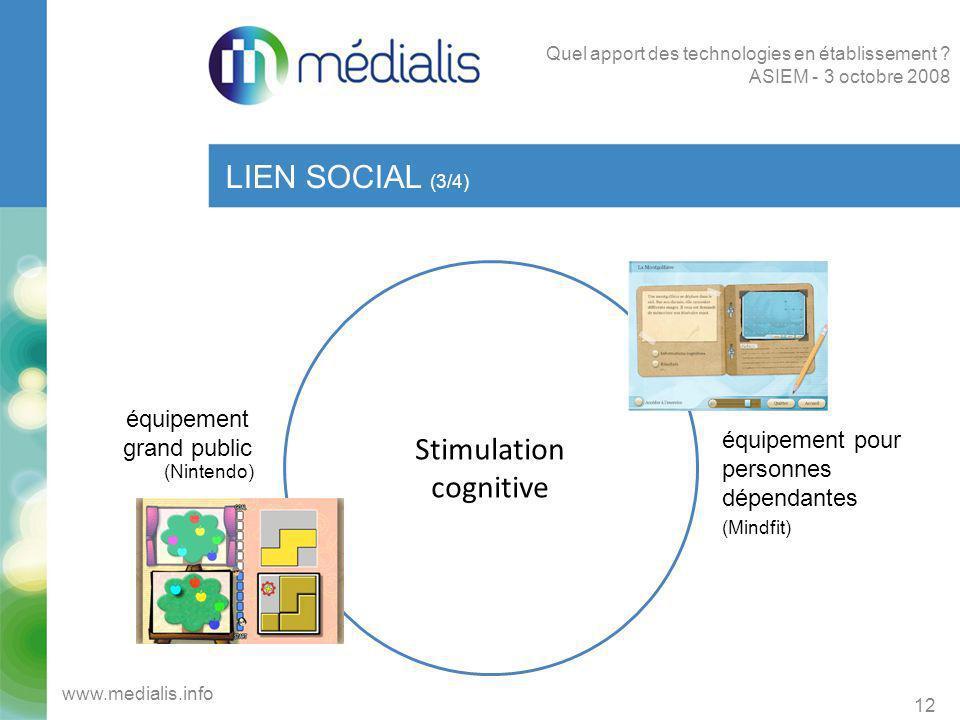 Stimulation cognitive LIEN SOCIAL (3/4) 12 www.medialis.info Quel apport des technologies en établissement ? ASIEM - 3 octobre 2008 équipement grand p