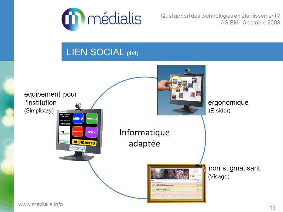 Informatique adaptée LIEN SOCIAL (4/4) 13 www.medialis.info Quel apport des technologies en établissement ? ASIEM - 3 octobre 2008 équipement pour lin