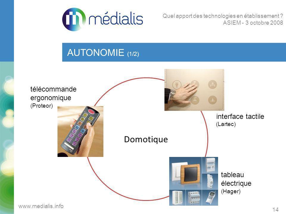 Domotique AUTONOMIE (1/2) 14 www.medialis.info Quel apport des technologies en établissement ? ASIEM - 3 octobre 2008 télécommande ergonomique (Proteo