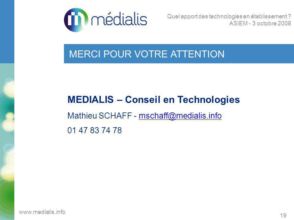 MERCI POUR VOTRE ATTENTION MEDIALIS – Conseil en Technologies Mathieu SCHAFF - mschaff@medialis.infomschaff@medialis.info 01 47 83 74 78 19 www.medial