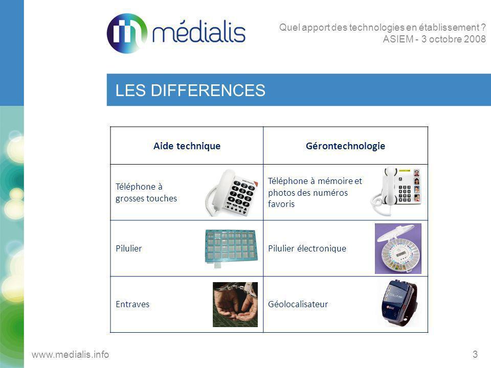 LES DIFFERENCES 3www.medialis.info Quel apport des technologies en établissement ? ASIEM - 3 octobre 2008 Aide techniqueGérontechnologie Téléphone à g