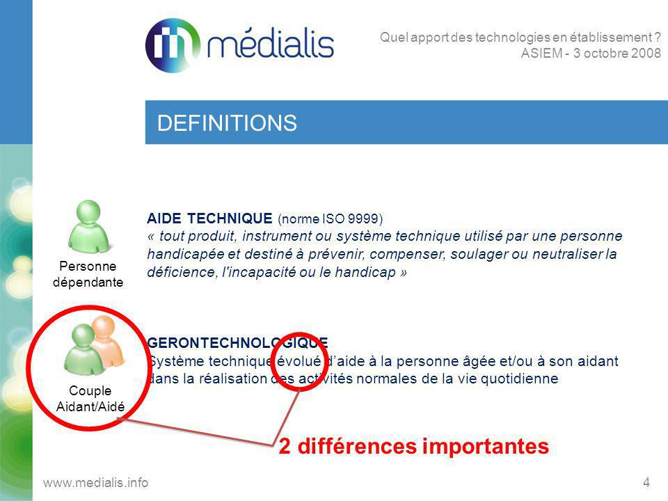 DEFINITIONS 4www.medialis.info Quel apport des technologies en établissement ? ASIEM - 3 octobre 2008 AIDE TECHNIQUE (norme ISO 9999) « tout produit,