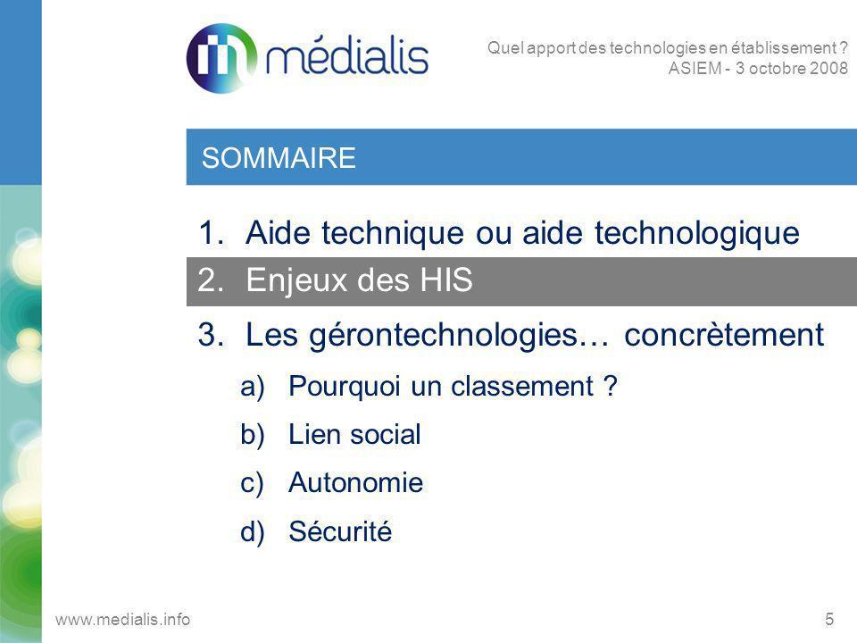 HABITAT INTELLIGENT POUR LA SANTE (1/2) 6www.medialis.info Quel apport des technologies en établissement .