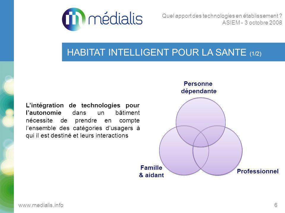 HABITAT INTELLIGENT POUR LA SANTE (2/2) 7www.medialis.info Quel apport des technologies en établissement .