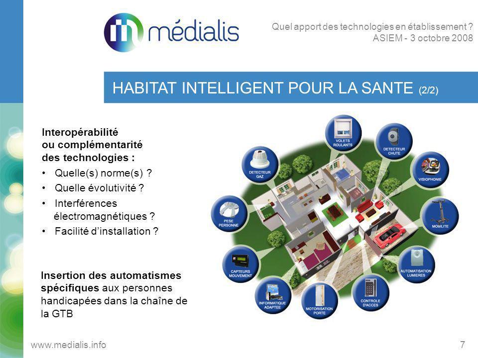 Suivi dactivité SECURITE (3/3) 18 www.medialis.info Quel apport des technologies en établissement .