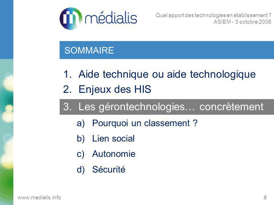 CLASSEMENT DES GERONTECHNOLOGIES 9www.medialis.info Quel apport des technologies en établissement .