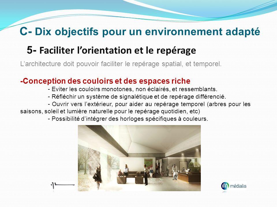 C- Dix objectifs pour un environnement adapté 5- Faciliter lorientation et le repérage Larchitecture doit pouvoir faciliter le repérage spatial, et te