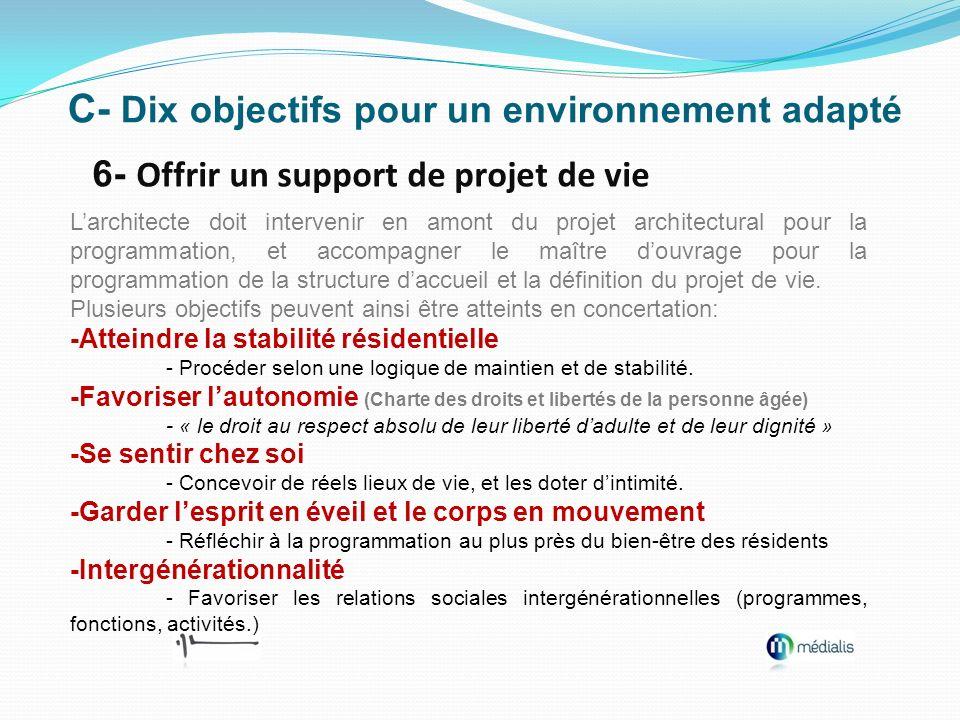 C- Dix objectifs pour un environnement adapté 6- Offrir un support de projet de vie Larchitecte doit intervenir en amont du projet architectural pour